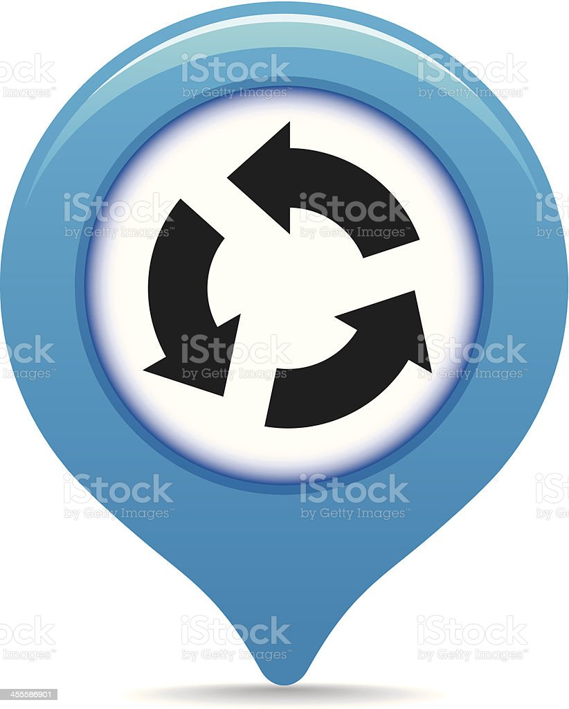 Roundabout map pointer vector art illustration