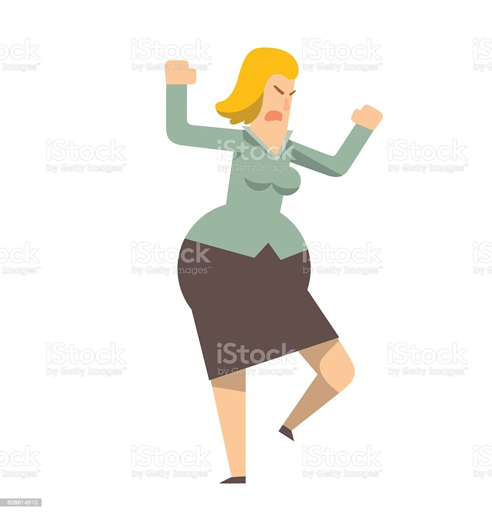 Rounded angry business woman cursing vector art illustration