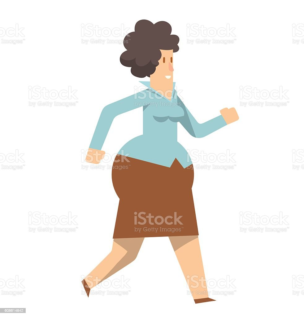 Rounded business woman walking somewhere vector art illustration
