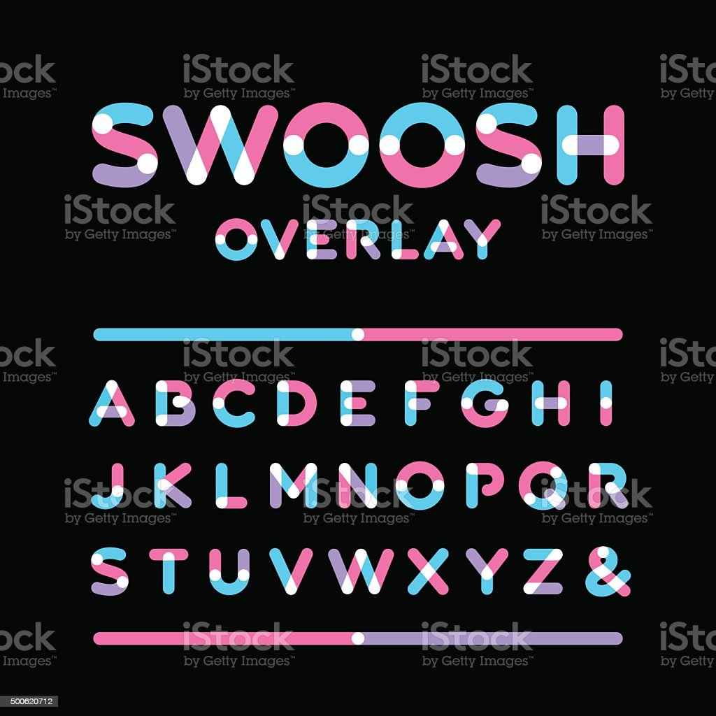 Rounded font. Vector alphabet with overlay effect letters. vector art illustration