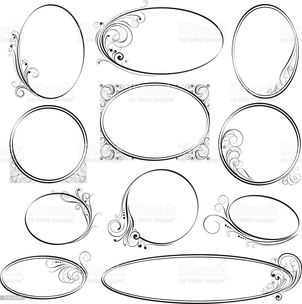 Rounded ornamental frames vector art illustration