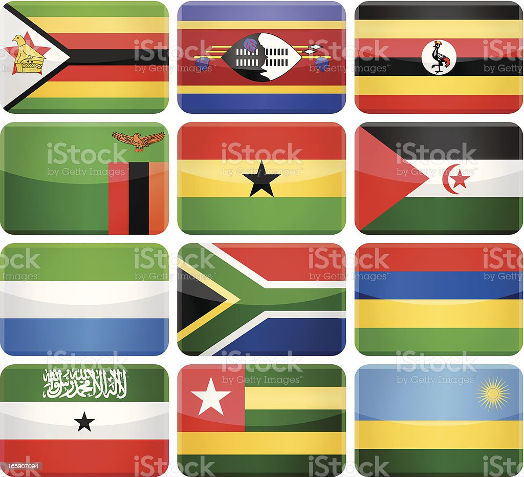 Rounded rectangle flag icons - Africa royalty-free stock vector art