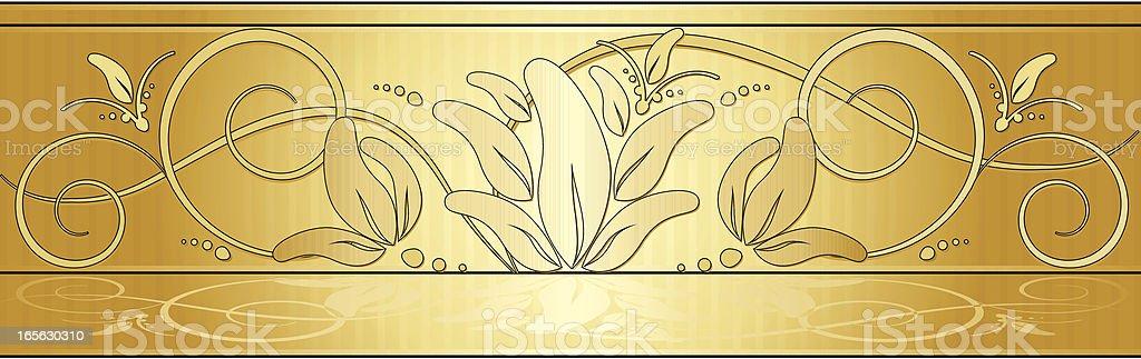 Abgerundete sich mit Blumenmuster-Hintergrund-Design-Elemente-Gold Lizenzfreies vektor illustration