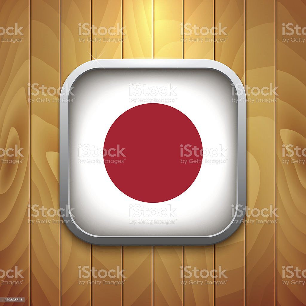 Rounded Square Japan Flag Icon on Wood Texture. royalty-free stock vector art