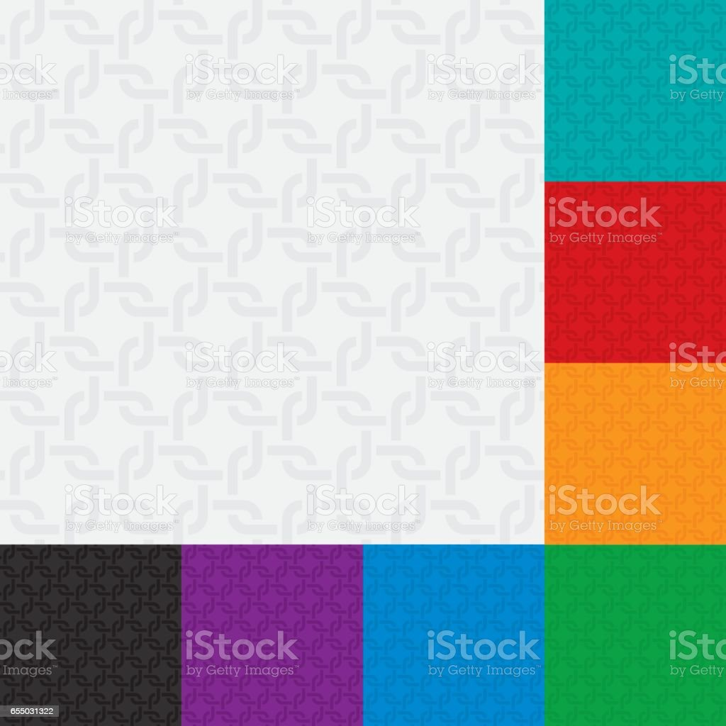 Rounded squares weaving seamless patterns set vector art illustration