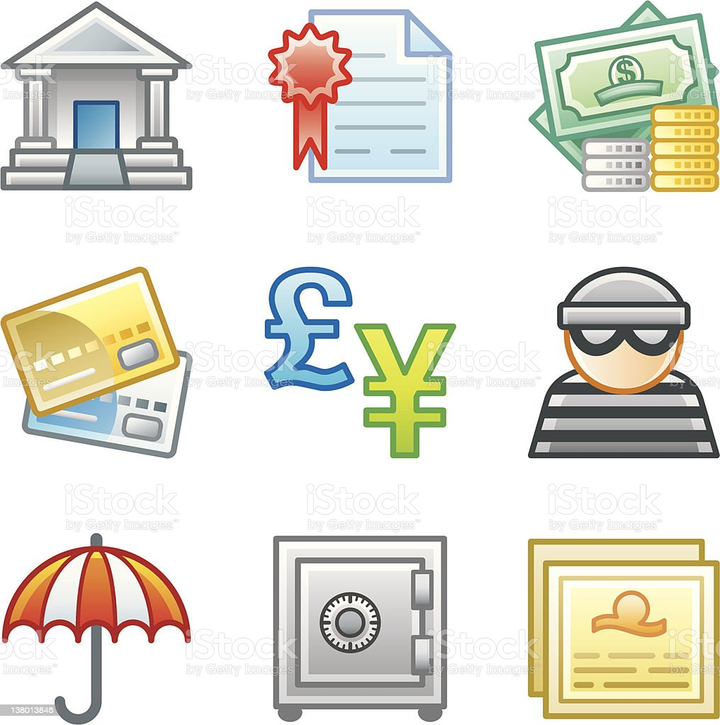 'Roundi' Icon Set - Banking royalty-free stock vector art