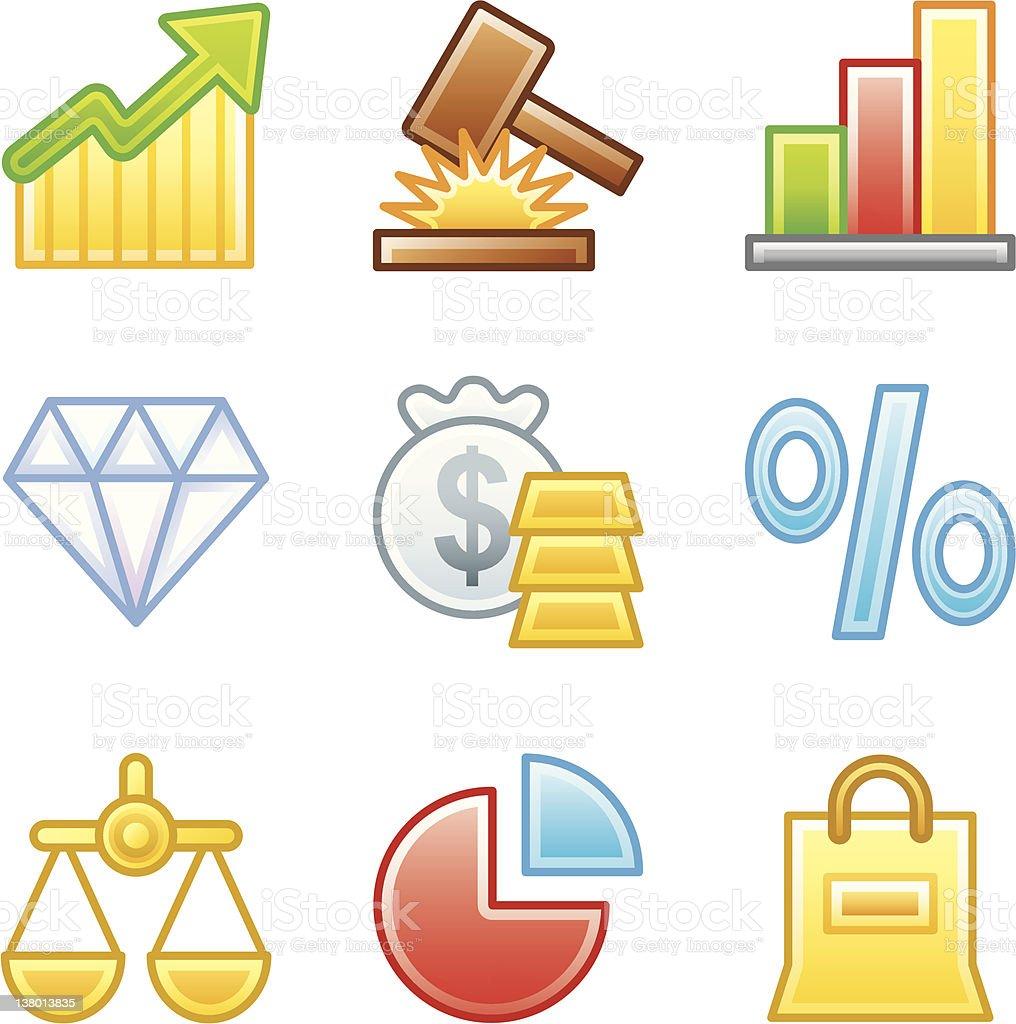 'Roundi' Icon Set - Business/Finance royalty-free stock vector art