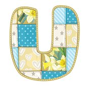Roundish Font from quilted fabric - letter U