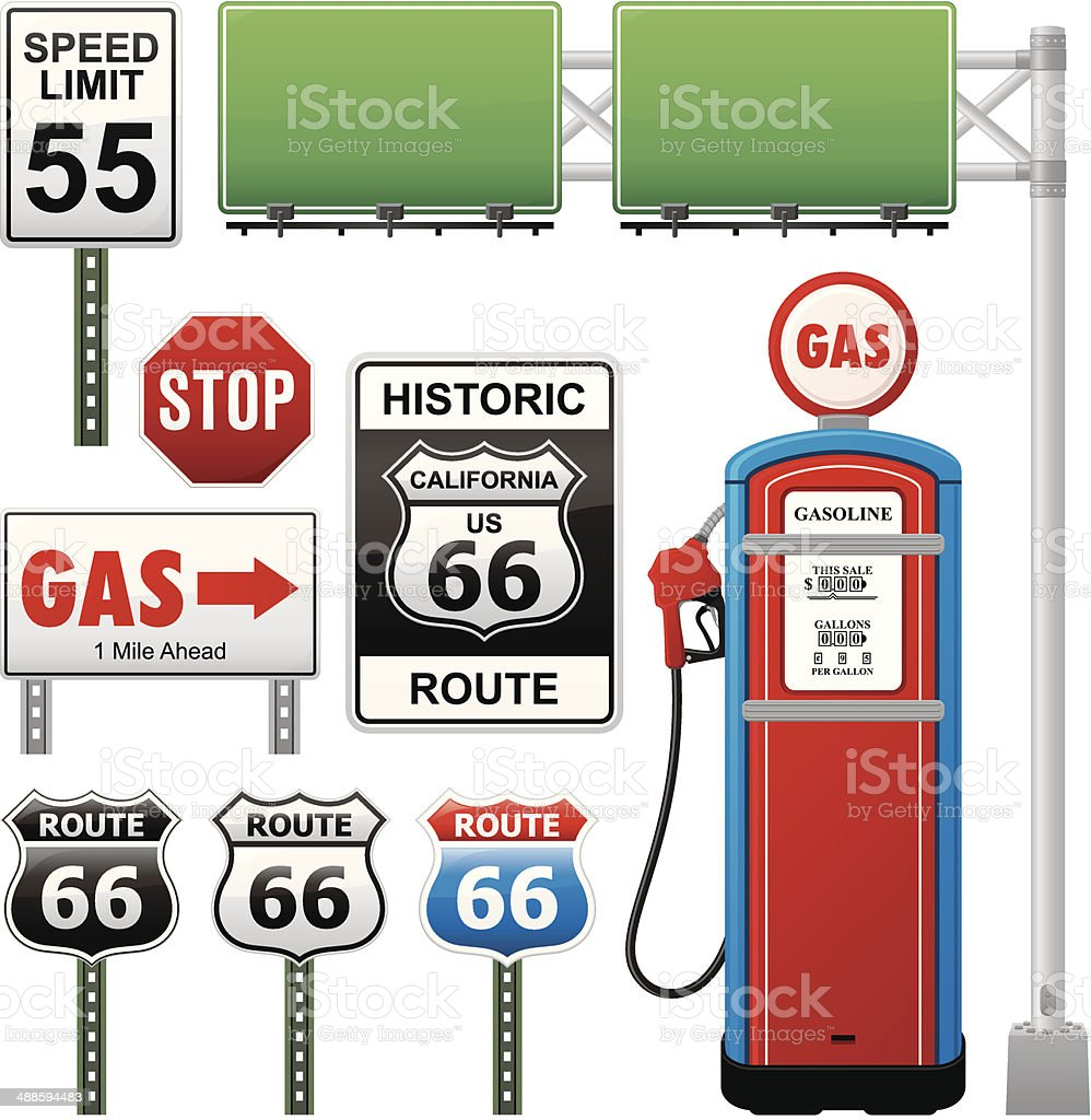 Route 66 Collection vector art illustration