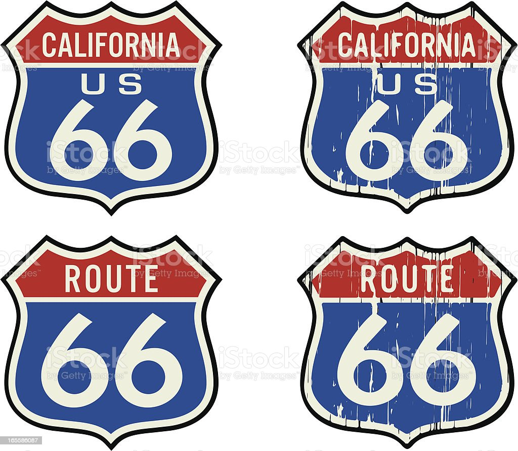 route 66 color sign vector art illustration