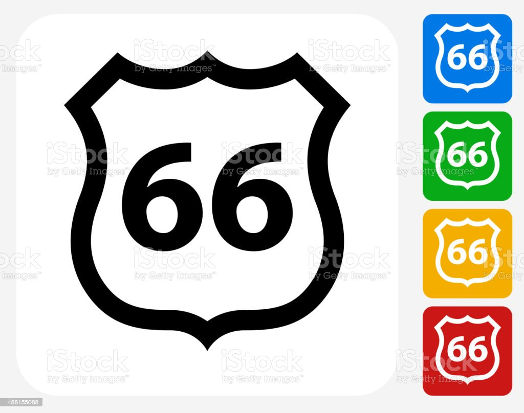 Route 66 Icon Flat Graphic Design vector art illustration