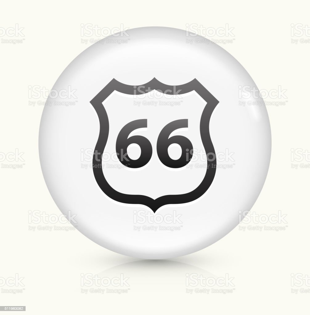 Route 66 icon on white round vector button vector art illustration