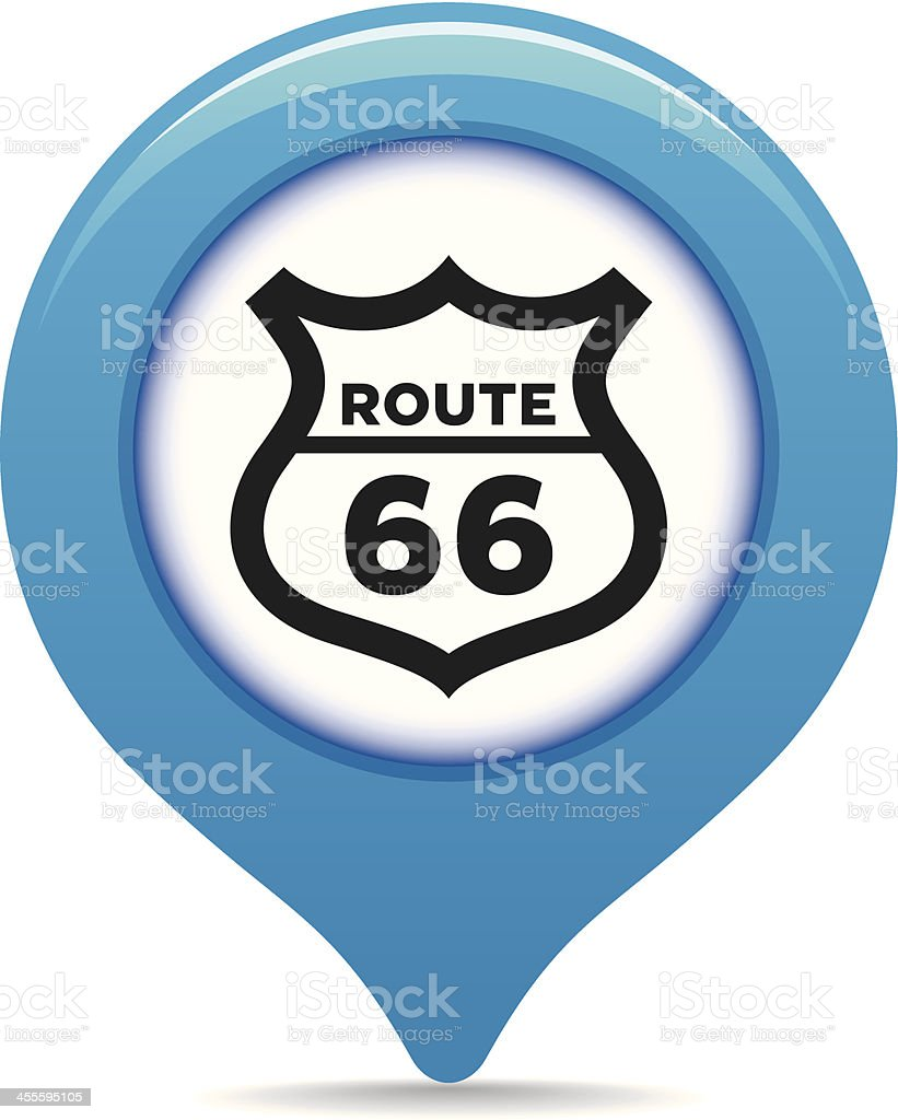Route 66 map pointer royalty-free stock vector art