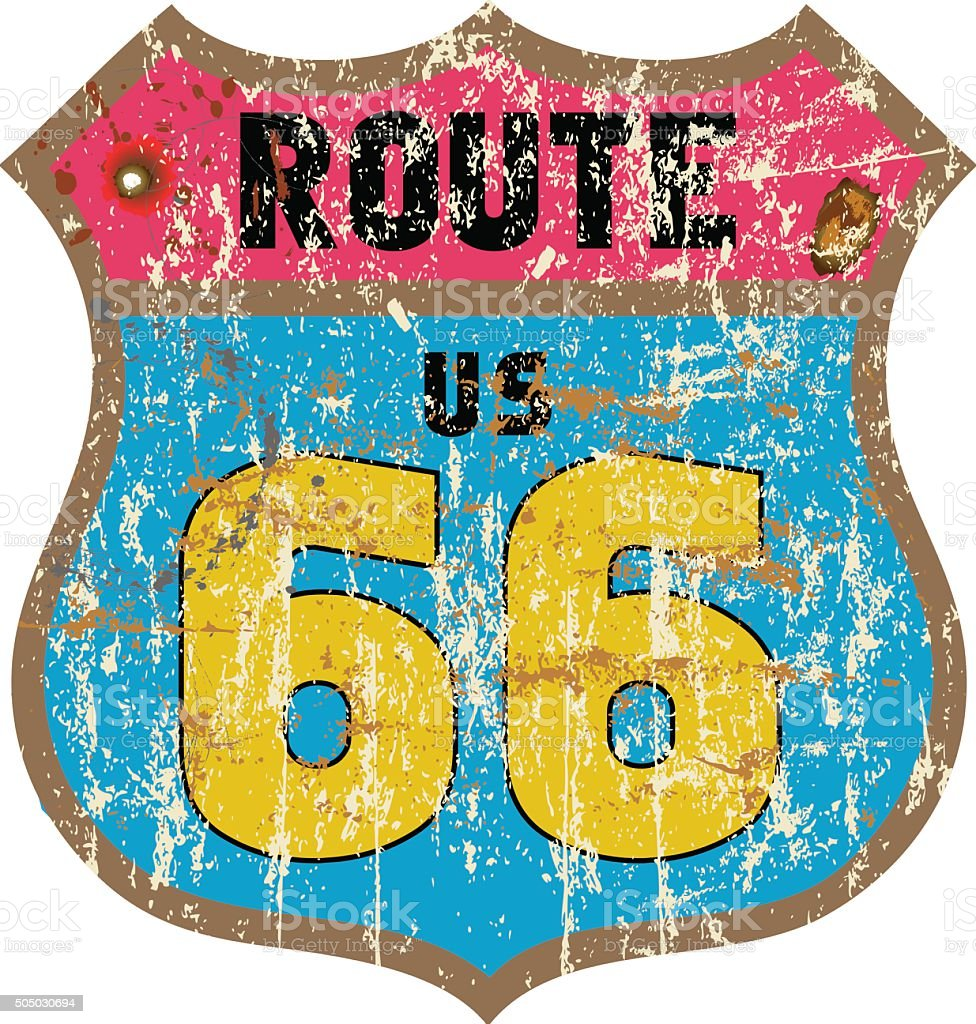 route 66 road sign vector art illustration