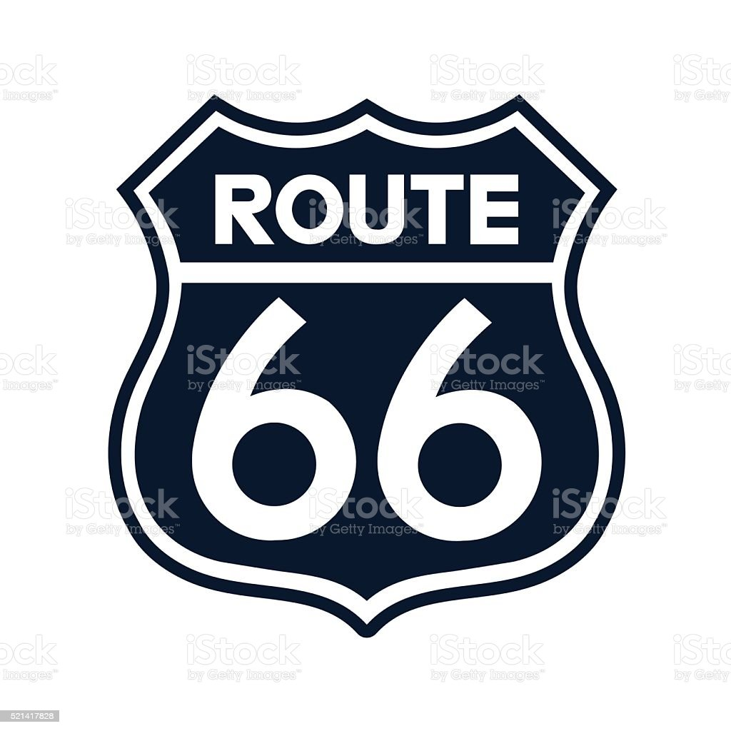 Route 66 Sign Illustration - VECTOR vector art illustration