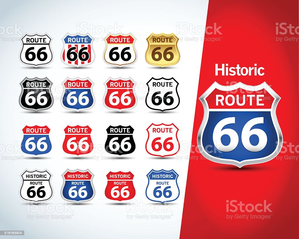 Route 66 sign set. Isolated route 66 emblems vector art illustration