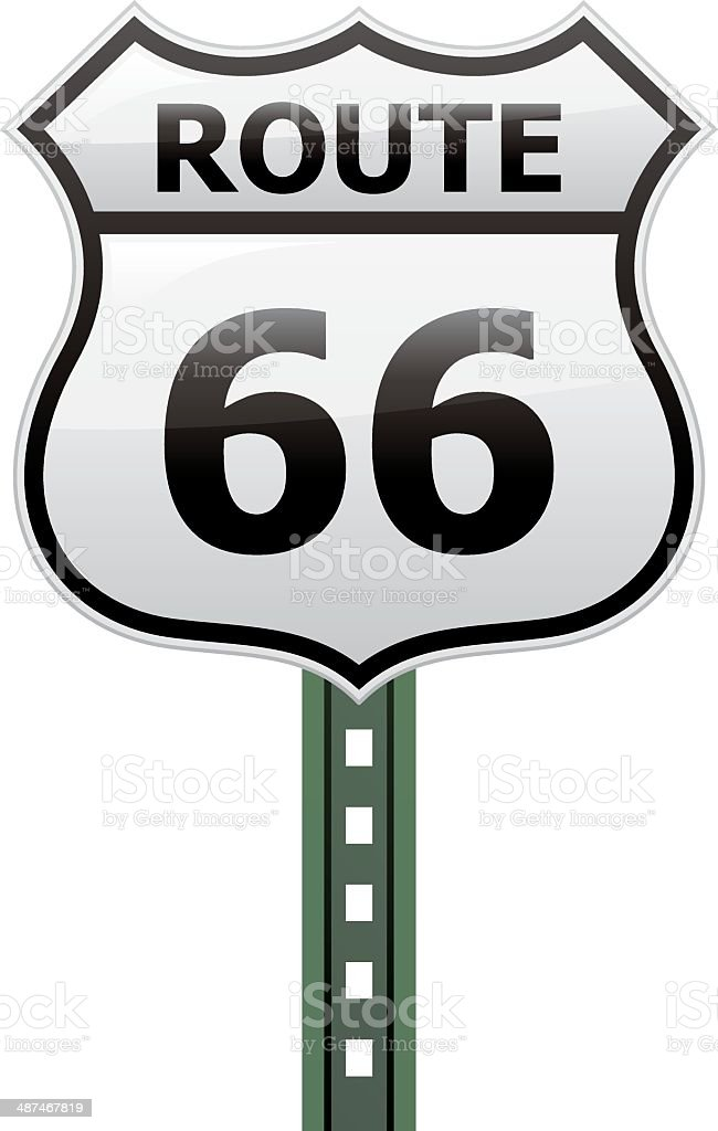 Route 66 Sign vector art illustration
