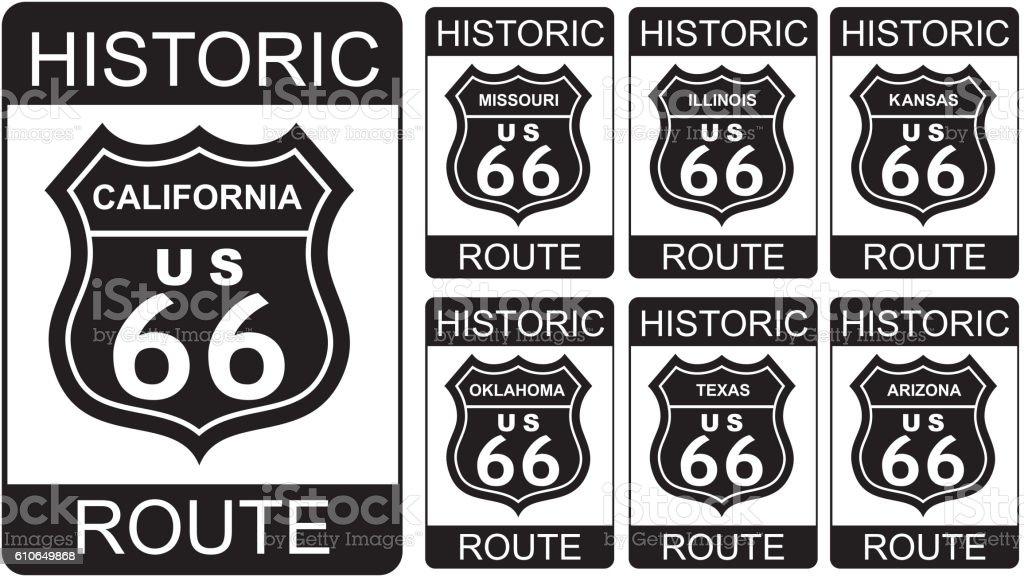Route 66 symbol vector art illustration