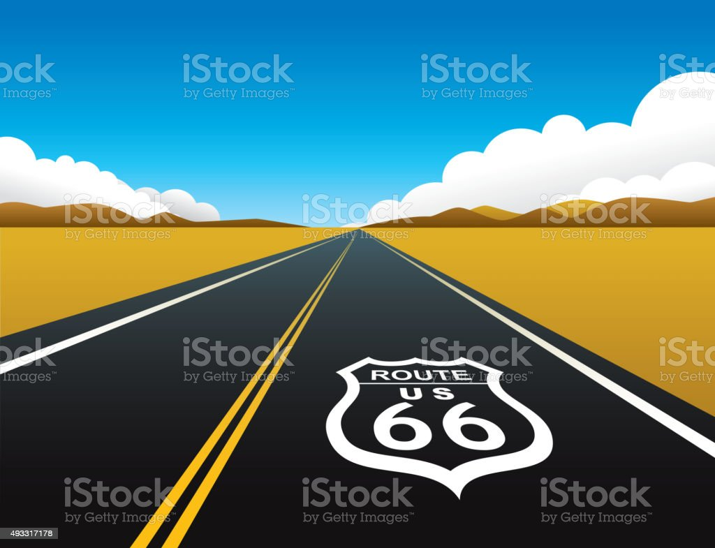 Route 66 vector art illustration