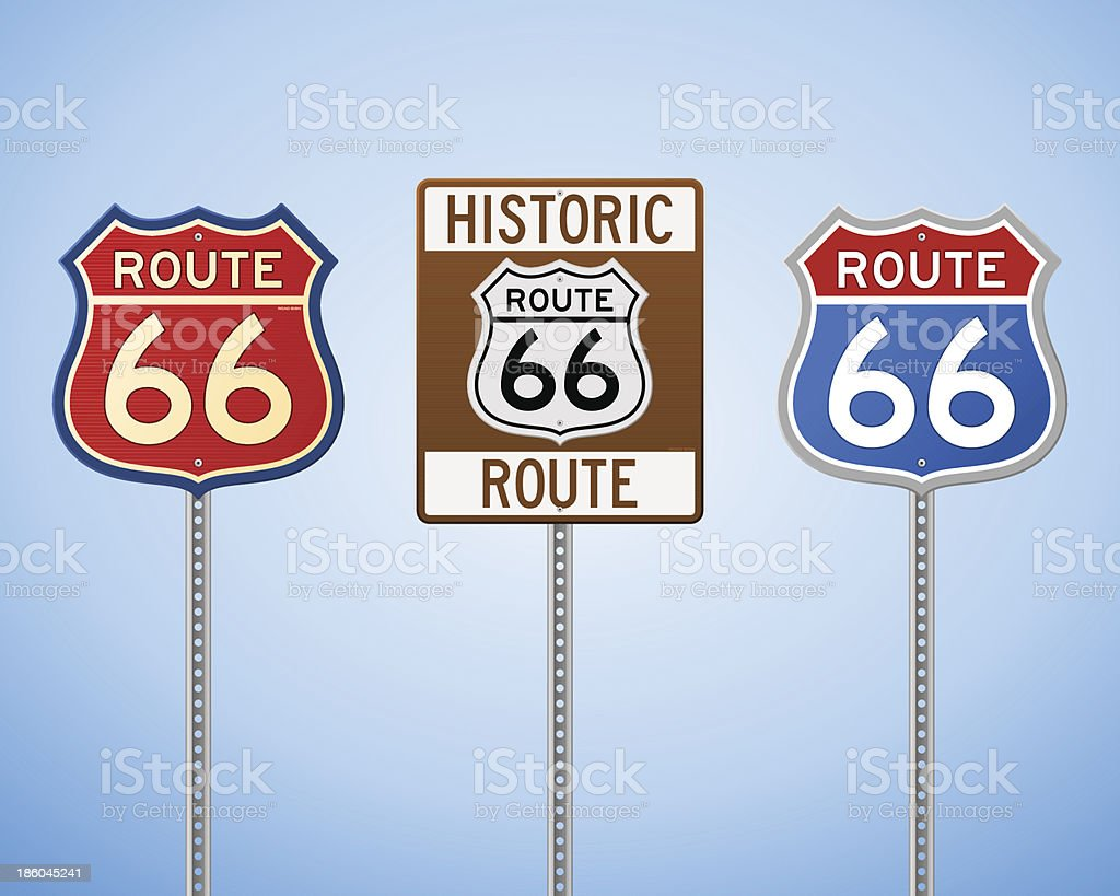 Route 66 Vintage Signs royalty-free stock vector art