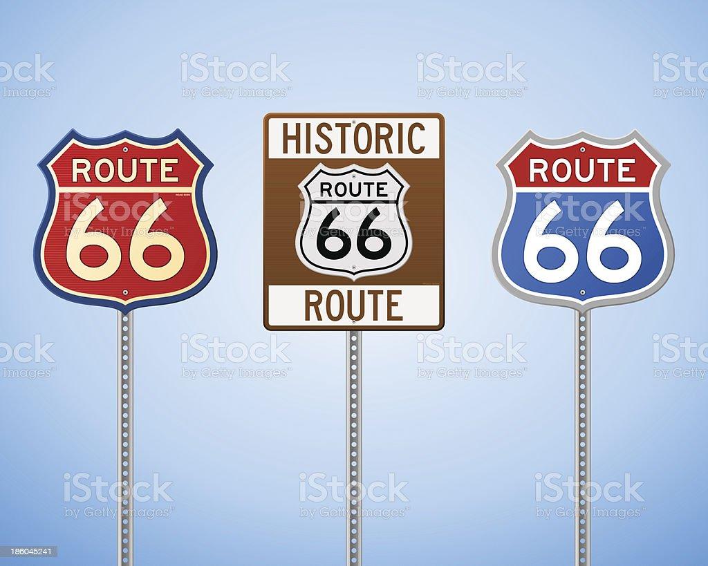 Route 66 Vintage Signs vector art illustration