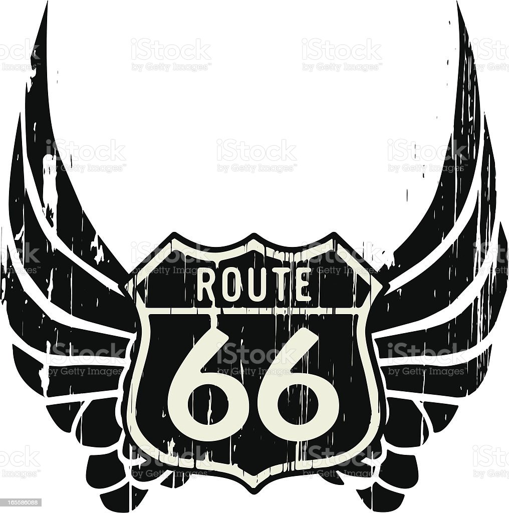route 66 with wings vector art illustration
