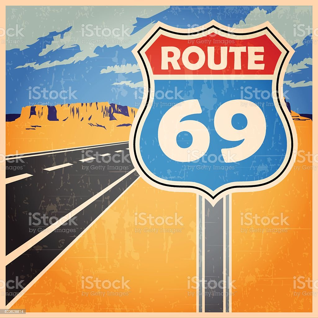 route old poster vector art illustration