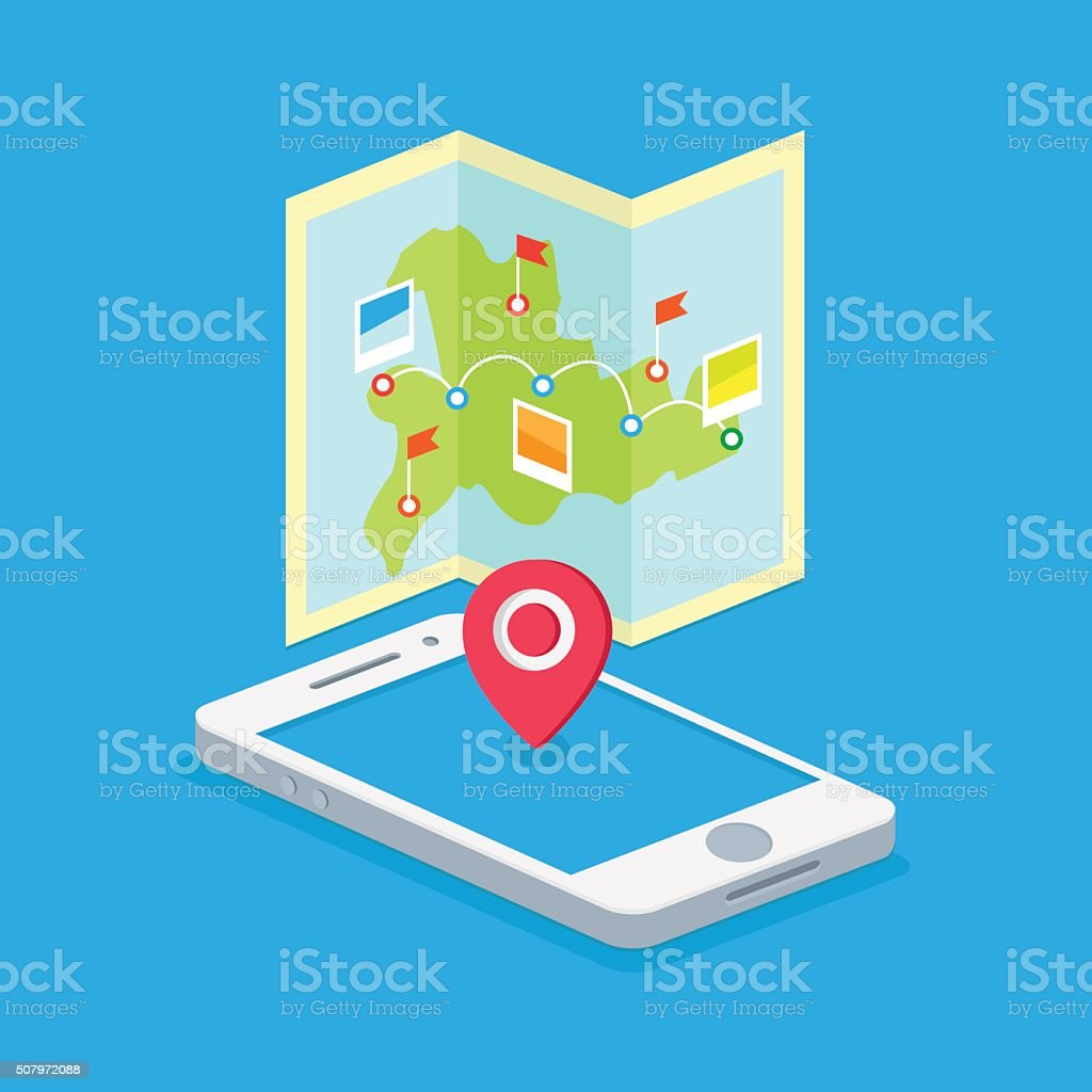 route on a map on the phone vector art illustration