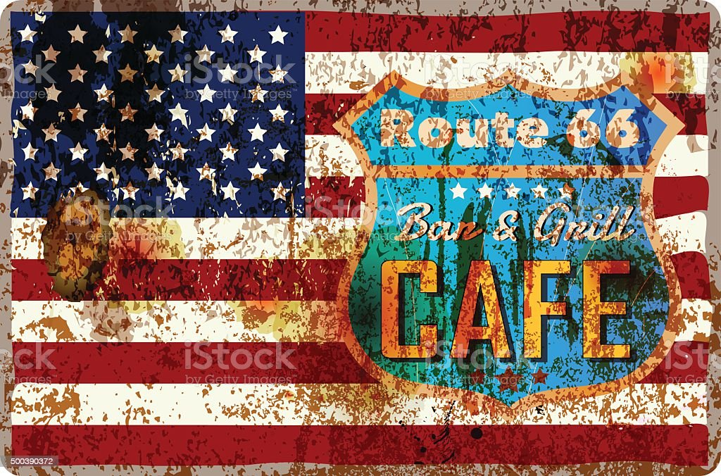 route sixty six cafe sign, vector art illustration