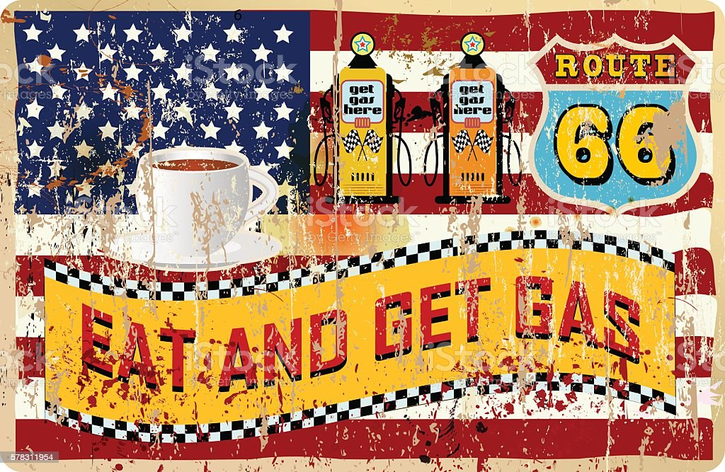 route sixty six gas and diner sign vector art illustration