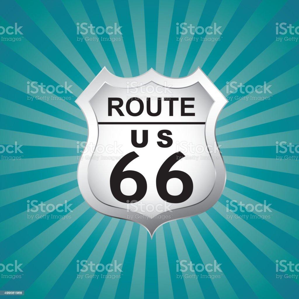 Route US 66 badge vector art illustration