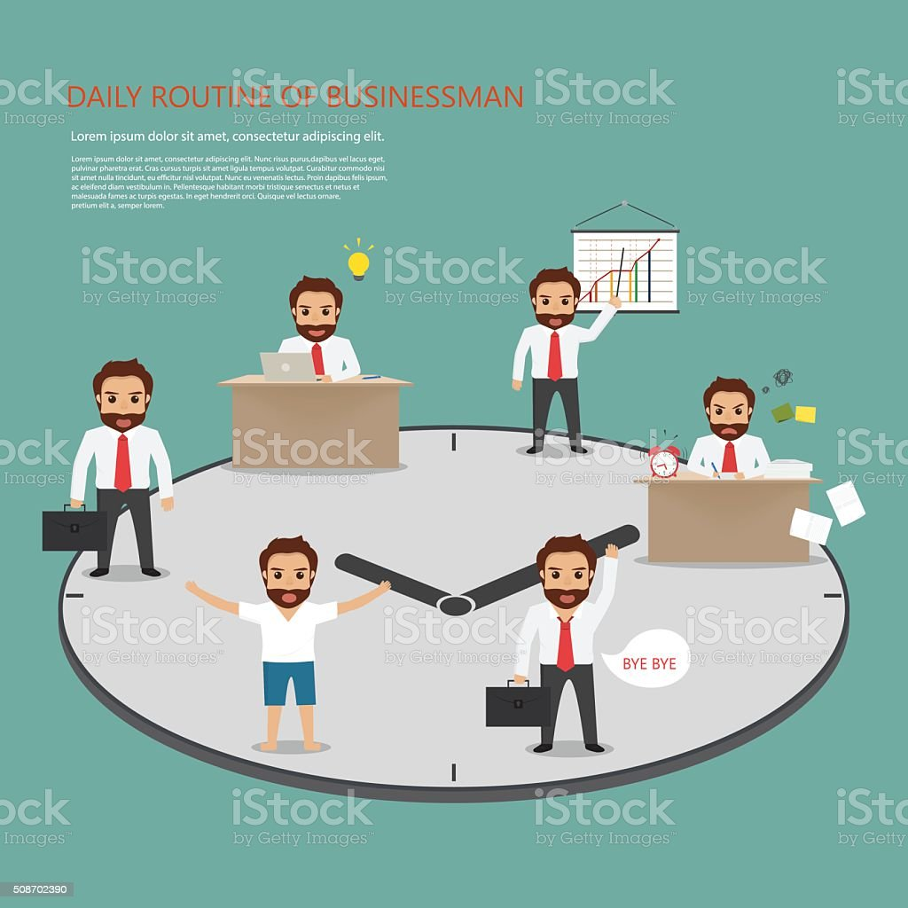 routine of business man at office work. people character. vector art illustration