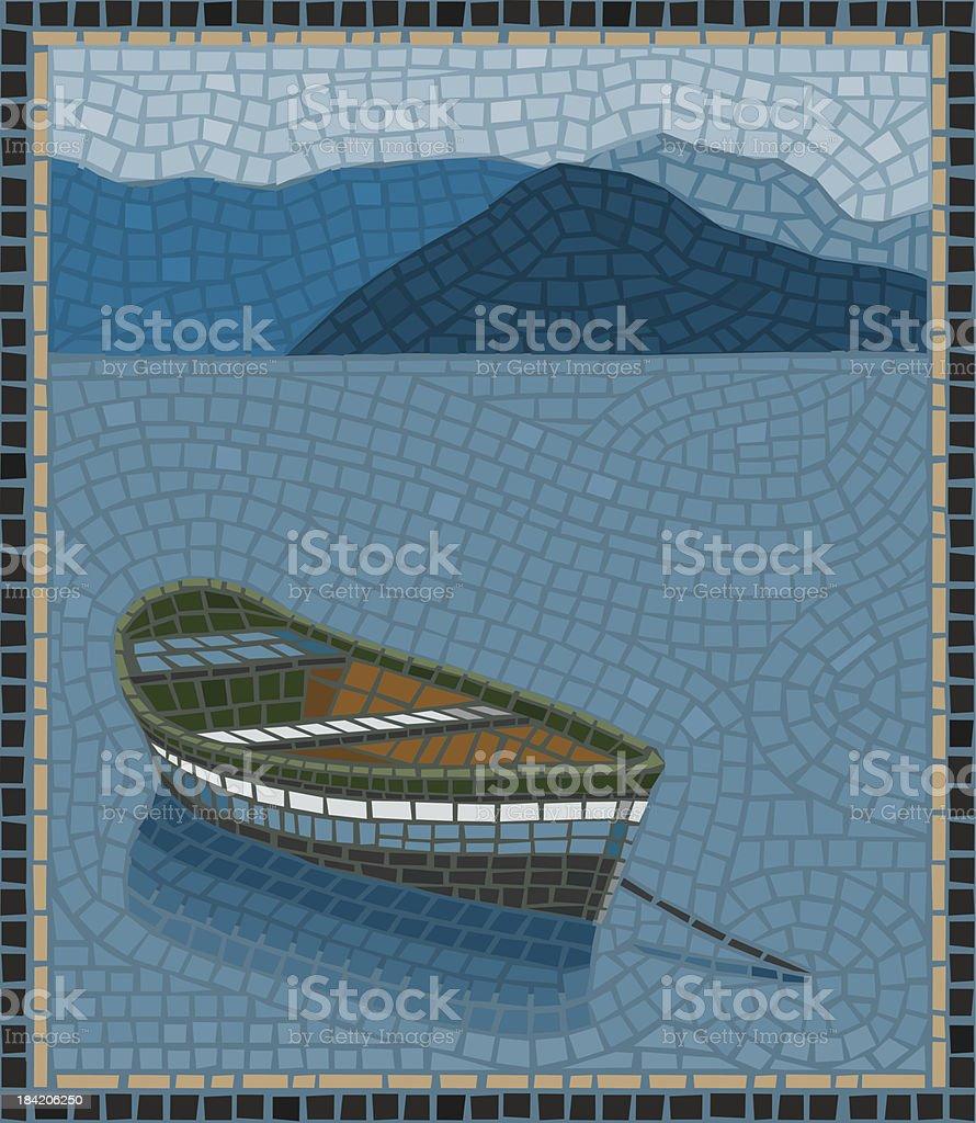 Row Boat Mosaic royalty-free stock vector art