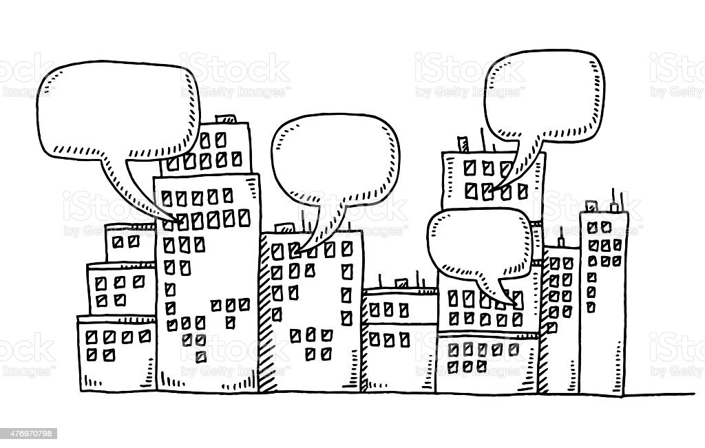 Row Of Buildings Communication Speech Bubbles Drawing vector art illustration