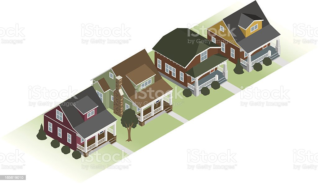 Row of Bungalow Houses royalty-free stock vector art