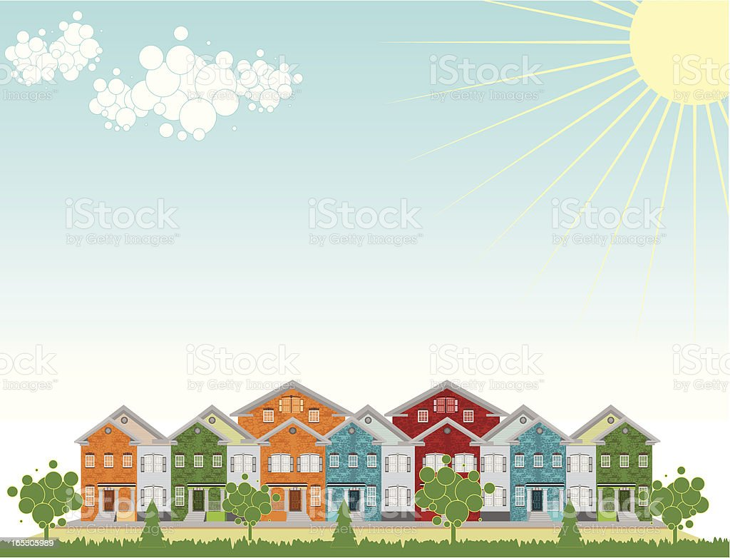 Row of Colorful Townhouses. Outdoow Setting royalty-free stock vector art