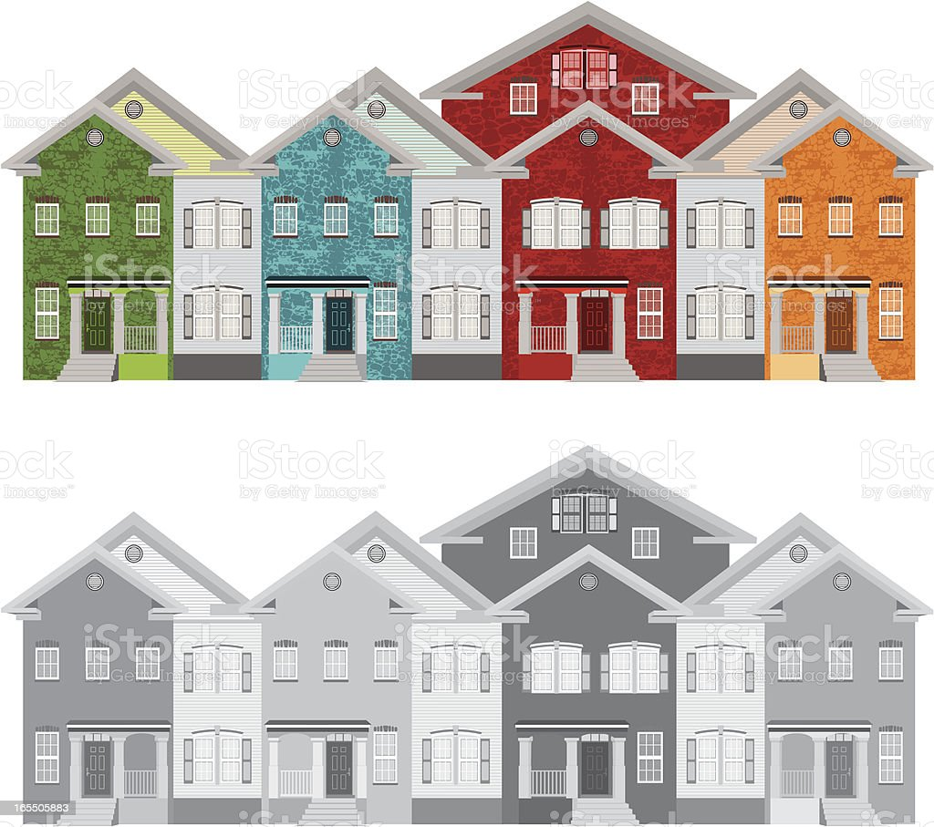 Row of Colorful Townhouses vector art illustration