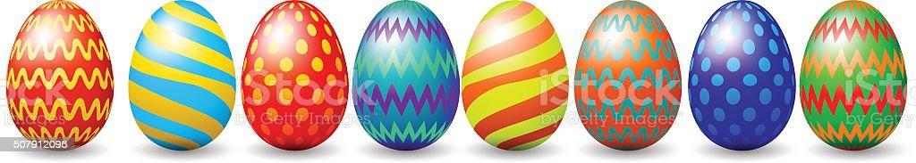 Row of easter eggs vector art illustration