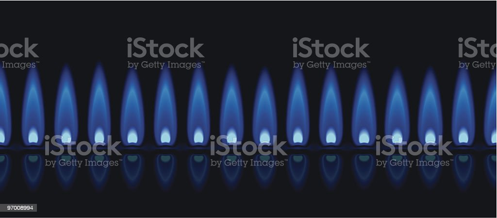 A row of gas flames showing the blue hue vector art illustration