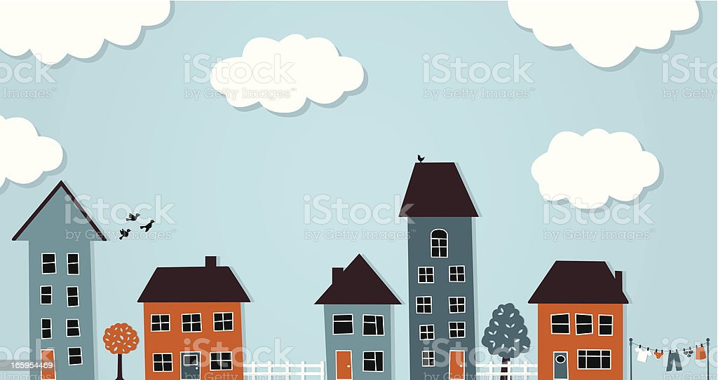 Row Of Houses vector art illustration
