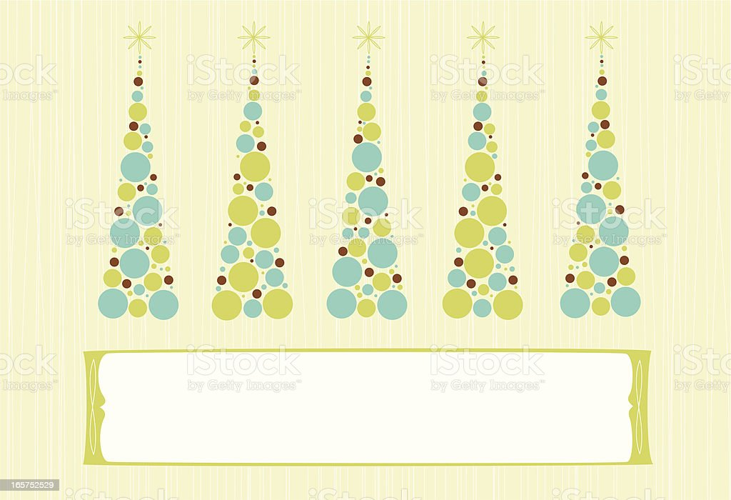 Row of retro styled Christmas trees with placard royalty-free stock vector art