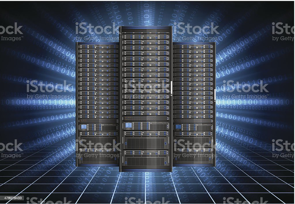Row of servers vector art illustration