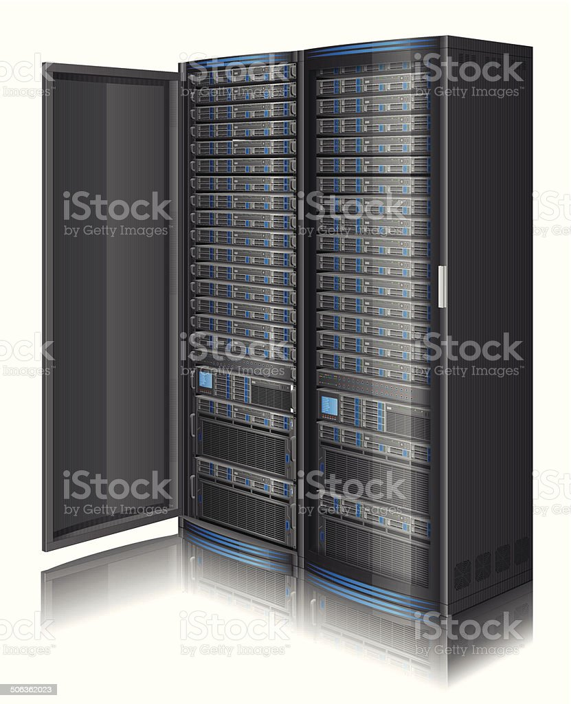Row of servers vector art illustration