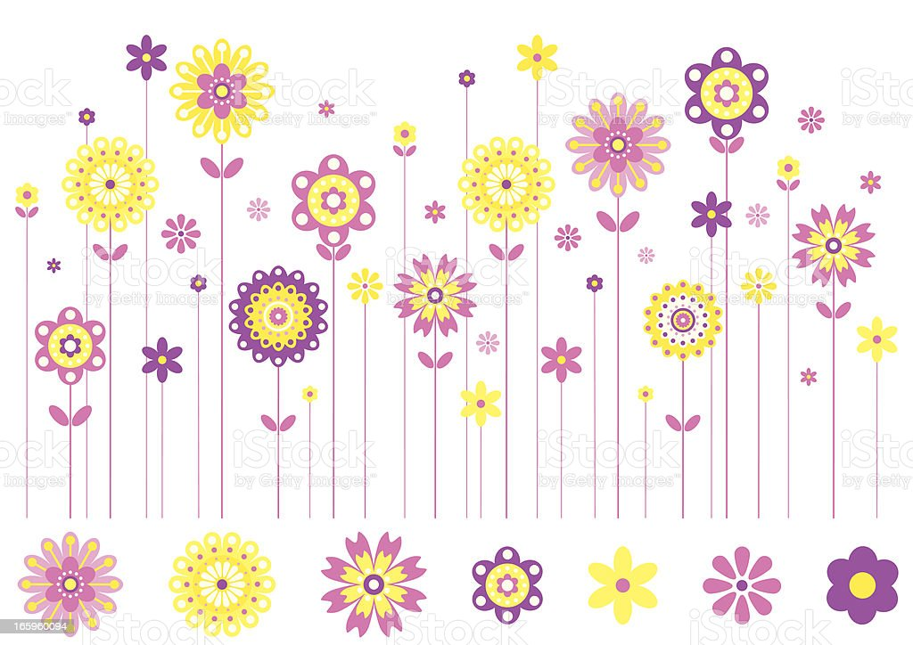 Row of Spring Flowers in Bright Colours. royalty-free stock vector art
