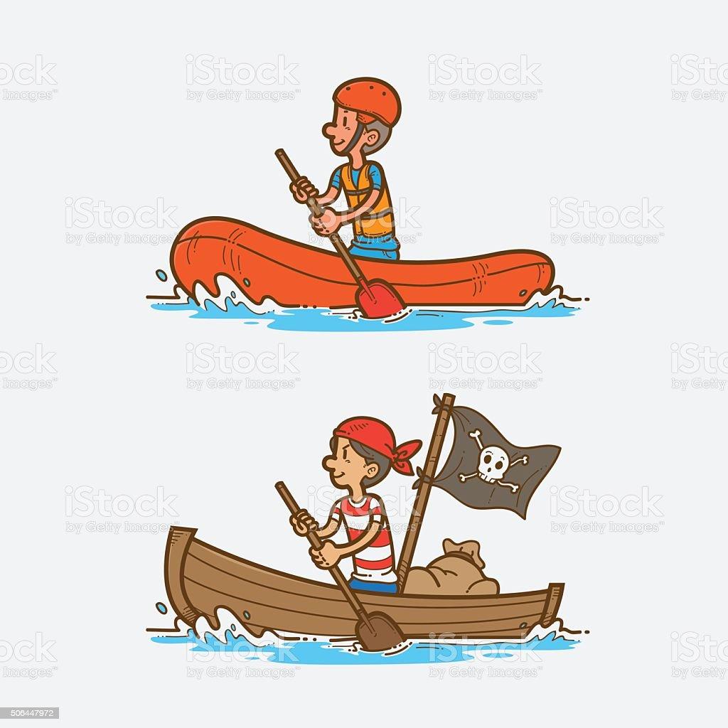 Rowing boat vector art illustration