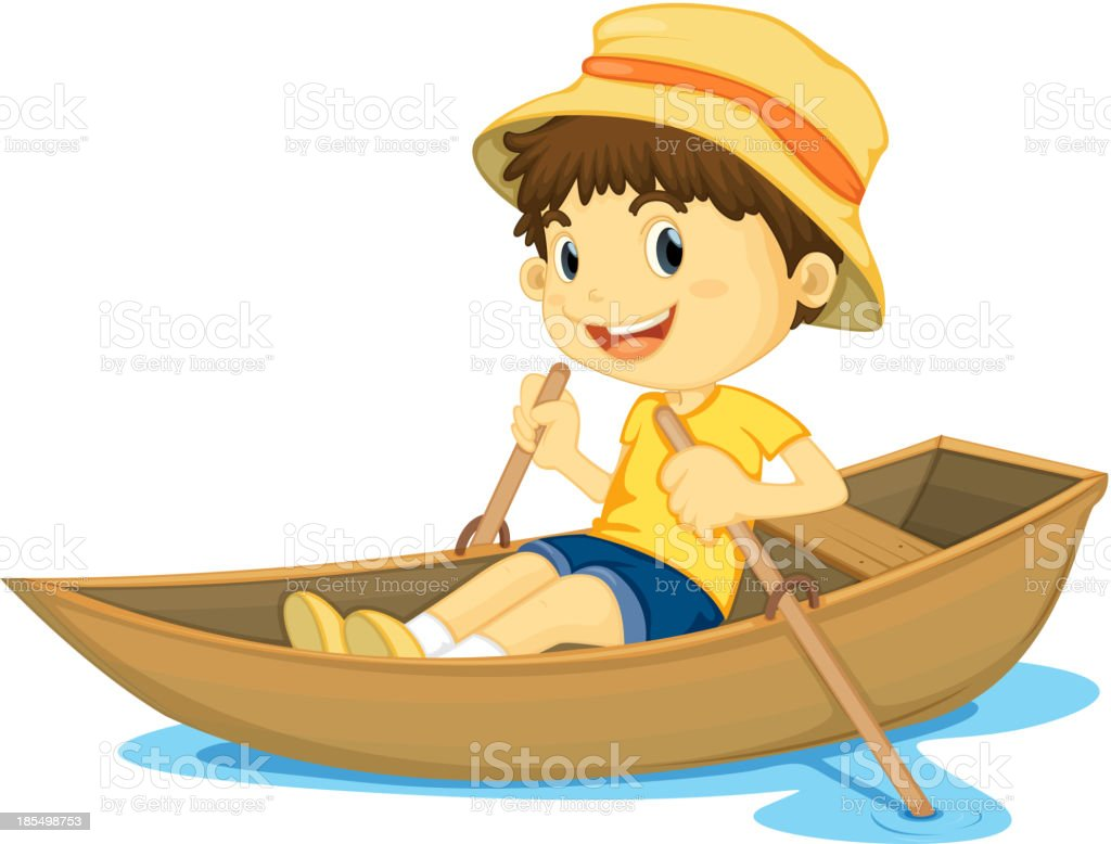 Rowing boy vector art illustration