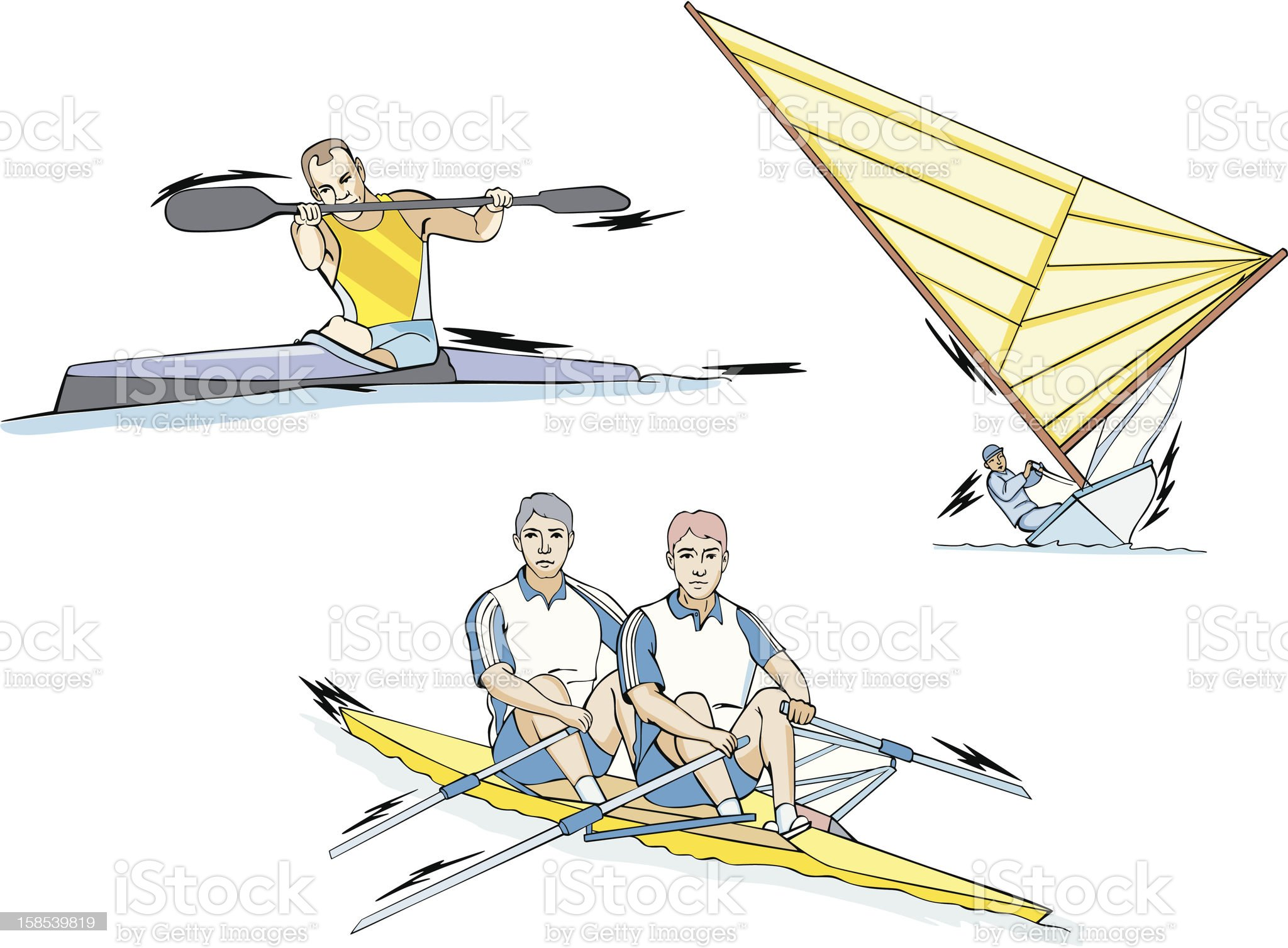 Rowing, Canoeing and Sailing royalty-free stock vector art