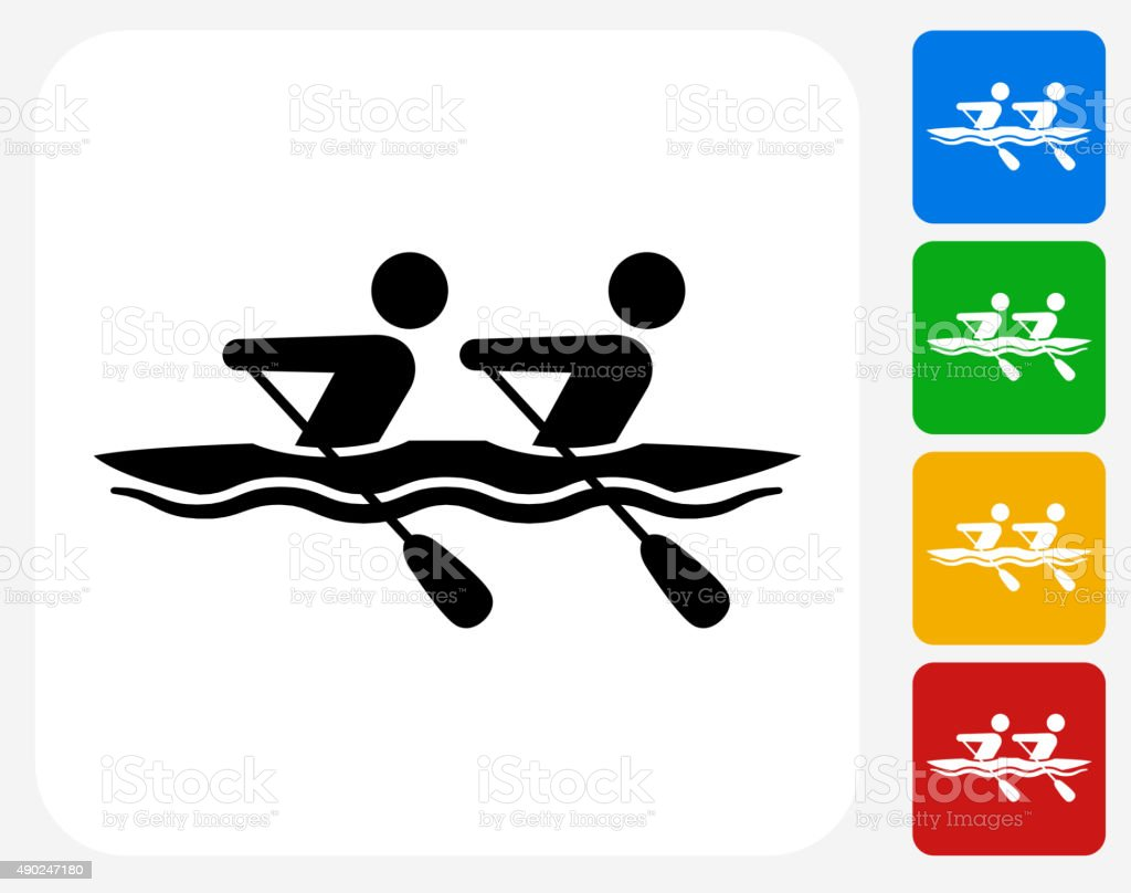Rowing Icon Flat Graphic Design vector art illustration
