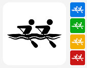 Rowing Icon Flat Graphic Design