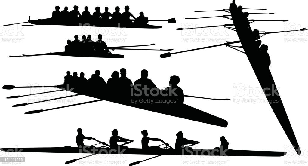 Rowing Silhouettes royalty-free stock vector art